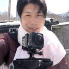 VR360°カメラを使用して米沢市にある露天風呂撮影中