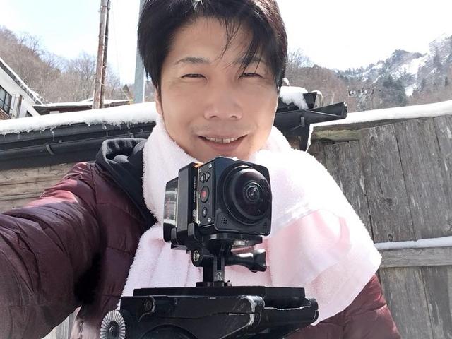 VR360°カメラで露天風呂撮影