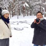 雪の中の撮影