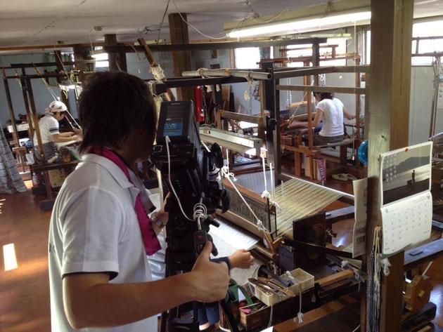 白鷹紬織元での産業PR動画撮影